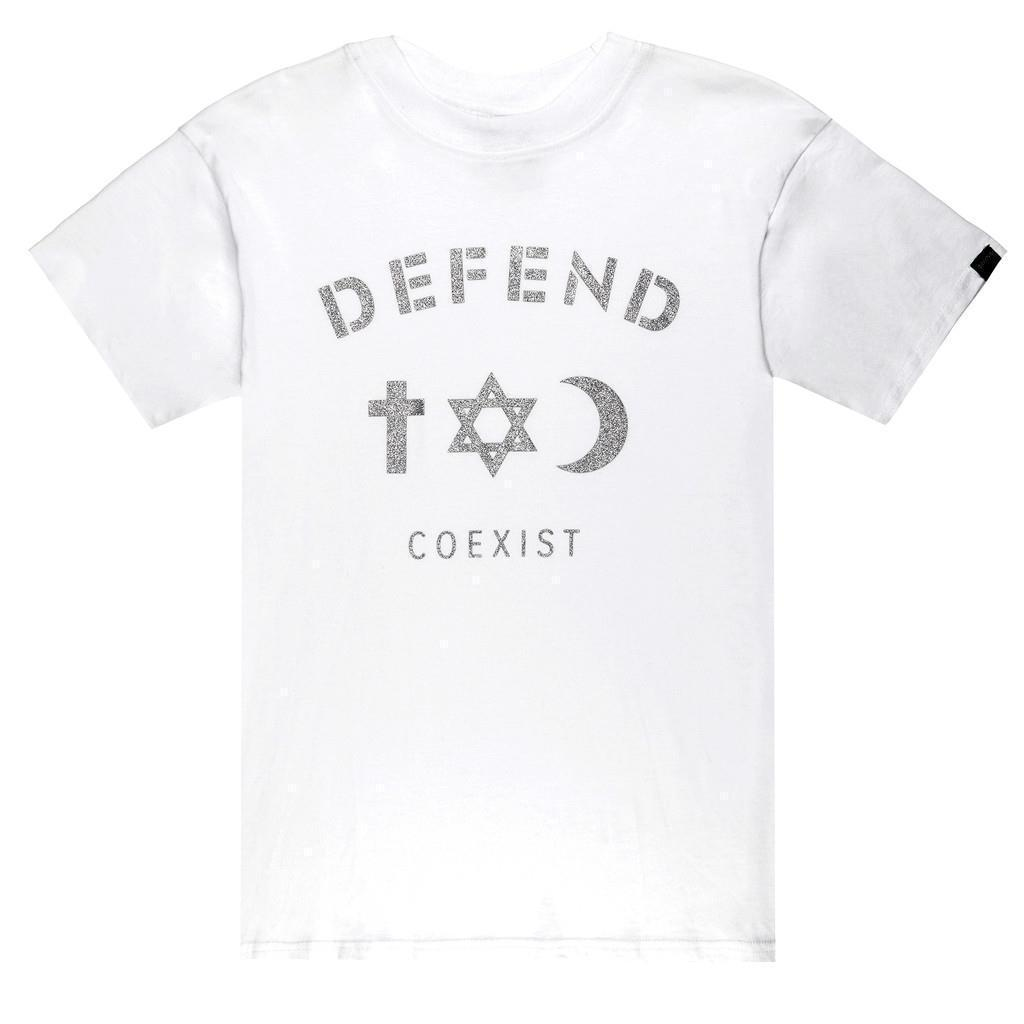 NEW DEFEND PARIS MEN'S COTTON CREW NECK COEXIST JEWEL T-SHIRT SHIRT WHITE FW1401