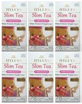 6 PACK of Hyleys Slim Tea Pomegranate Green Tea 100% Natural (25 tea bags each) - $29.99
