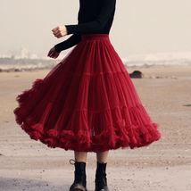 Burgundy Midi Puffy Tutu Skirt Burgundy High Waisted Layered Tulle Skirt Plus  image 4