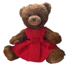 """Build a Bear Brown 2016 Moveable Arms, Legs 16"""" Stitch Nose Blue Eyes Red Dress - $25.74"""