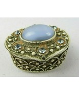 Vintage Signed Florenza Trinket Pill Box Gold Tone Blue Glass & Rhinestone - €26,59 EUR