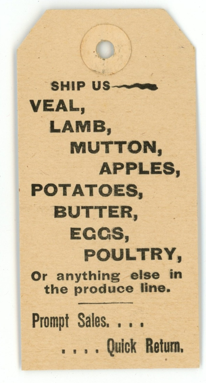 Donnelly Co vintage hangtag butter poultry Boston MA advertising meat fruit