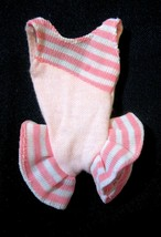 Vintage Barbie Doll Clothes: Swimsuit Pink White Stripes Ruffles - $4.94