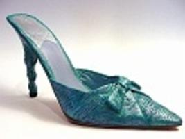 Silken Wrap Teal High Heeled Mule Mimics Raw Silk Toe 2 Heel Just the Ri... - $24.99
