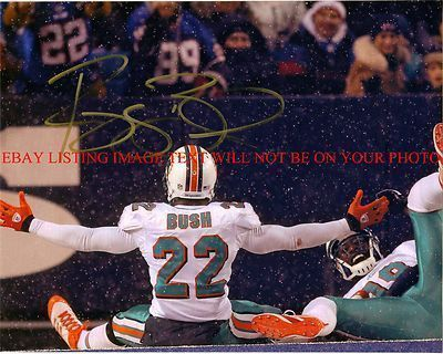 REGGIE BUSH AUTOGRAPHED AUTO 8x10 RP PHOTO MIAMI DOLPHINS RB