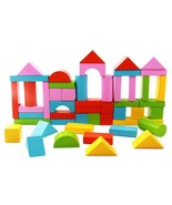 Wooden Building Blocks 50 Piece Set Wood Toy Kids Toys Natural Colored S... - $28.04