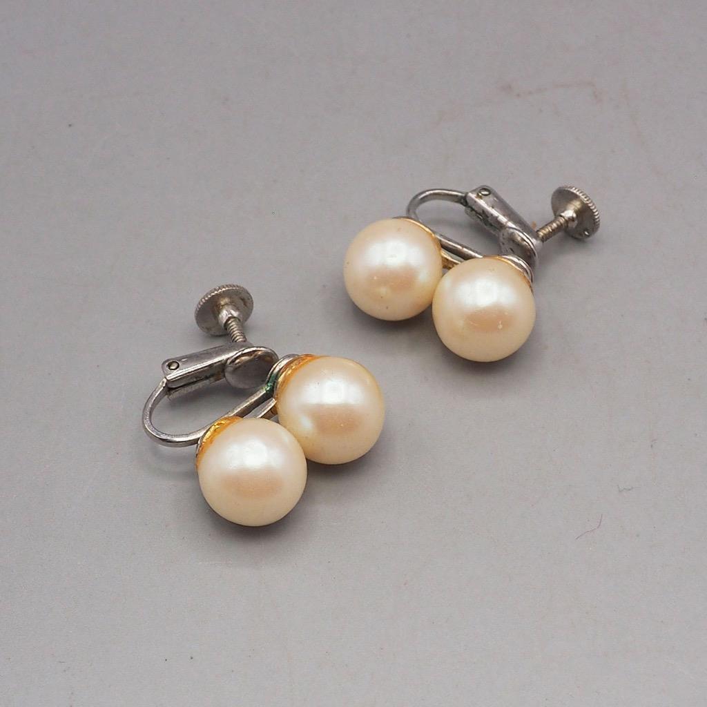 Vintage Faux Pearl Screw On On Earrings 1950's 1960's