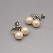 Vintage Faux Pearl Screw On On Earrings 1950's 1960's - $9.89