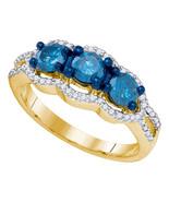 10k Yellow Gold Round Diamond 3-stone Bridal Wedding Engagement Ring 1-1/5 - £941.91 GBP