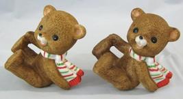 Vtg Lefton 2 Bear Cub Figurines Set Brown Scarf... - $11.83