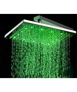Cascada 12 Inch Square Rainfall LED Shower Head, Stainless Steel with Chrome Fin - $178.15