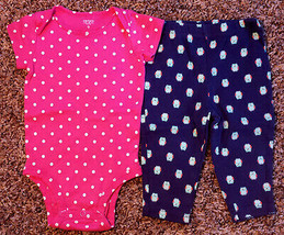 Girl's Size 9 M 6-9 Months Two Pc Carter's Pink Polka Dot Top, Navy Owl Leggings - $14.00