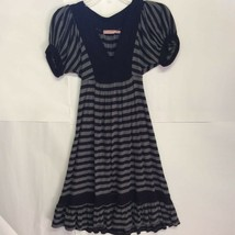 Juicy Couture Womens A-Line Dress Black Striped Puff Sleeves V-Neck Self... - $27.71