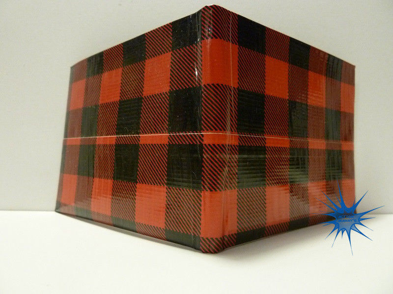 Handmade duct tape wallet Black and Red checkered design