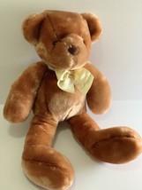 "Fiesta Plush Tan Cuddle Bear Stuffed Animal Soft Toy Yellow Bow 17"" - $12.38"