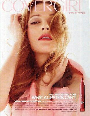 Primary image for Drew Barrymore 2009 Ad Make-up Cover Girl Lipstick Outlast Photo Illustration