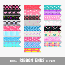 Romantic Girly Ribbon Ends, Arrows and Flags - Digital Clip Arts, CU4CU - $4.50