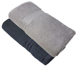 4 Pce Striped Hotel Quality Egyptian Cotton Black Silver Hand Bath Towel 600GSM - $22.08