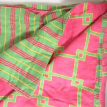 Tommy Hilfiger Overlapping Squares Fuchsia Pink Lime Full/Queen Duvet Cover - $49.00