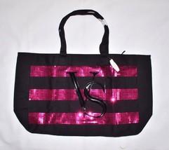 Victoria's Secret Sequin Striped Tote Beach Bag Vacation Purse New Shopper Black - $37.19