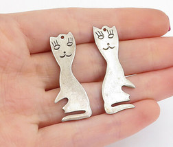925 Sterling Silver - Vintage Etched Sitting Cat Motif Dangle Earrings -... - $34.27