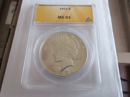 1922 , Peace Dollar , ANACS , MS 61 , Beautiful Coin - $54.36