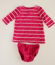 Baby Gap 3-6 M Jersey Knit Dress Pink White Scalloped Stripe w/ Bloomers... - $16.80