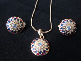 Vintage Necklace & Clip On Earrings Gold Tone Red White & Blue Rhineston... - $14.99