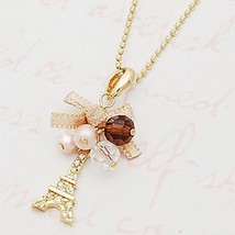 Women Pendant Necklace Bow Knot Tower Imitation Diamond Alloy - 1x Chosen Random