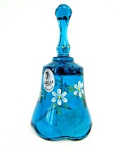 "Fenton Hand Painted Blue MINI Bell Signed K. Riley 4.25"" Flower Floral W... - $24.75"