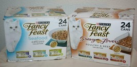 FANCY FEAST Seafood / Gray Lovers Poultry Beef 48 / 3 oz Cans Cat Food B... - $14.50