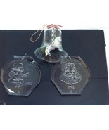 B&W Laser Etched Pipe Smoking Snowman & Santa Christmas Clear Ornament 1... - $48.51