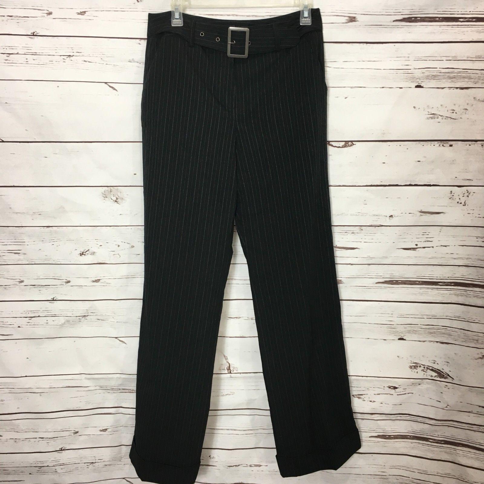 Larry Levine Womens Dress Pants Size 10 Black Pinstripe Stretch Career Cuffed