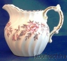 Aynsley Mini Creamer Swirl Stylized Roses and Bell Flowers Pink and Grey - $29.65