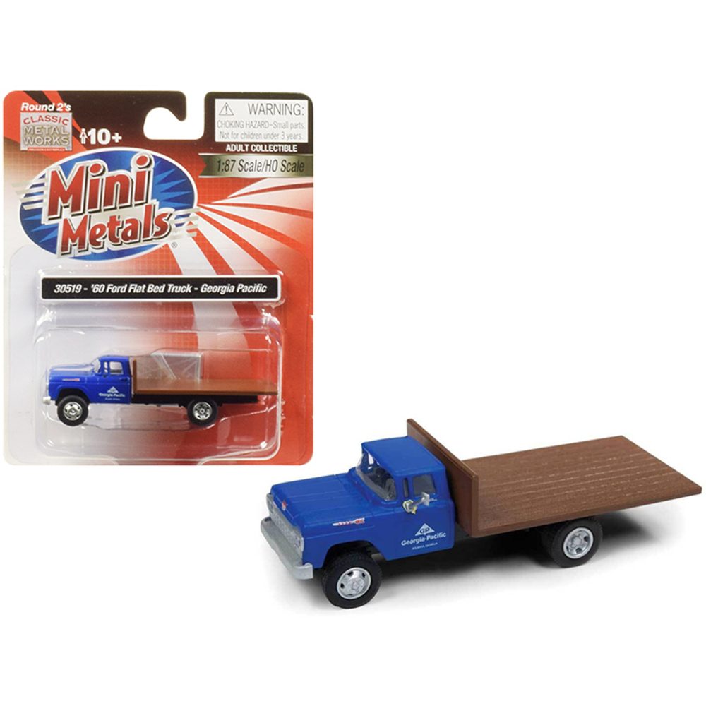 1960 Ford Flatbed Truck Georgia Pacific Blue 1/87 (HO) Scale Model by Classic Me