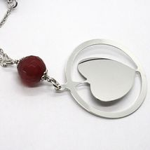 Necklace Silver 925, Carnelian Faceted, Heart Sloped Pendant image 3
