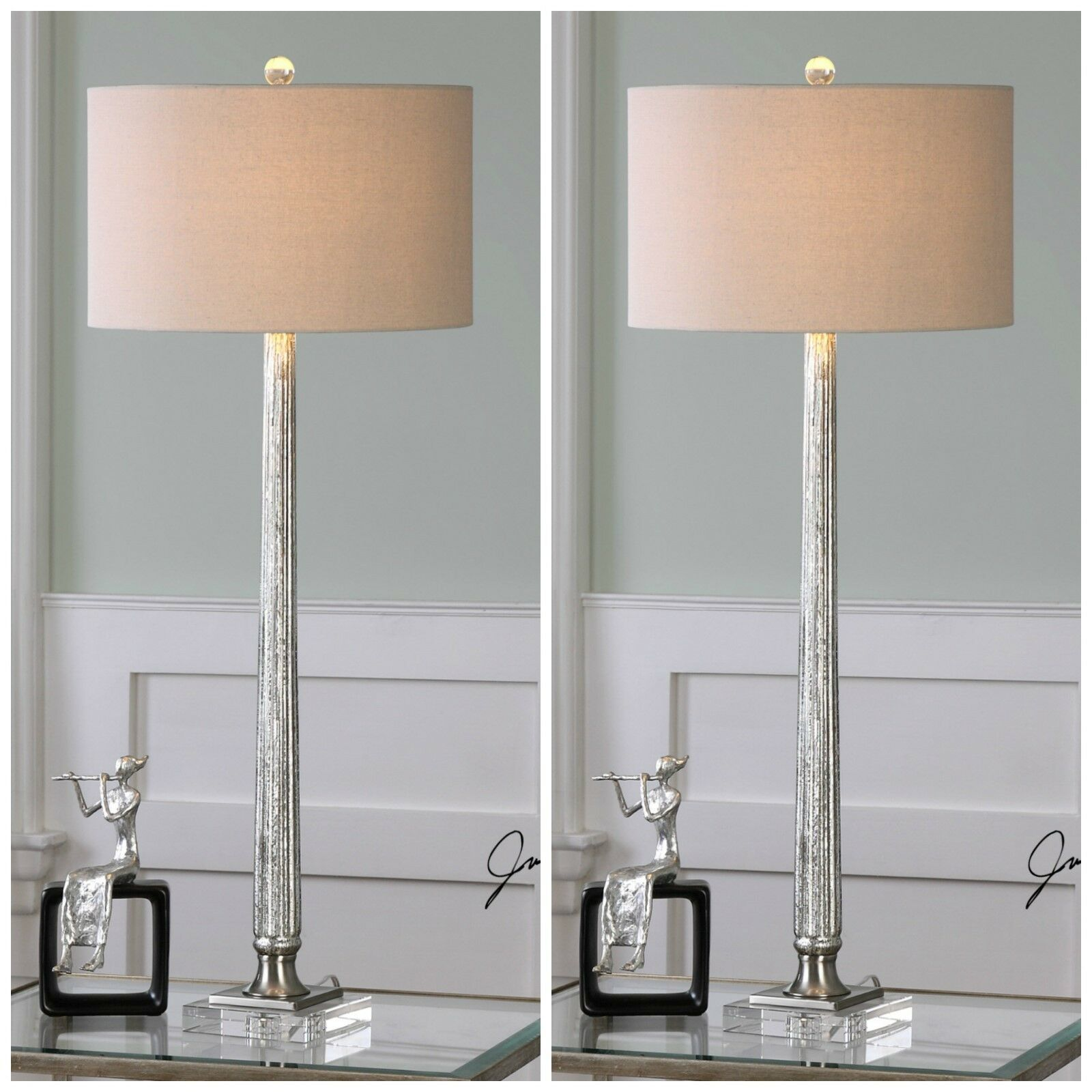 "TWO FIONA XXL 39"" RIBBED MERCURY GLASS TABLE BUFFET LAMP CRYSTAL BASE UTTERMOST"