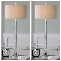 "TWO FIONA XXL 39"" RIBBED MERCURY GLASS TABLE BUFFET LAMP CRYSTAL BASE UT... - $475.20"