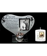 "Personalised Mum & Dad 3"" memorial candle & Glass poem photo frame Unusu... - $28.79"