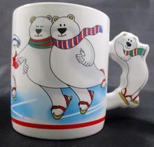 Vintage The Love Mug Ice Skating Polar Bears Christmas Coffee Mug Cup 1987  - $7.84