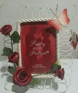 "Beautiful 3D Red Roses & Butterfly Elegant Picture Photo Frame》4""x6"" - £19.08 GBP"