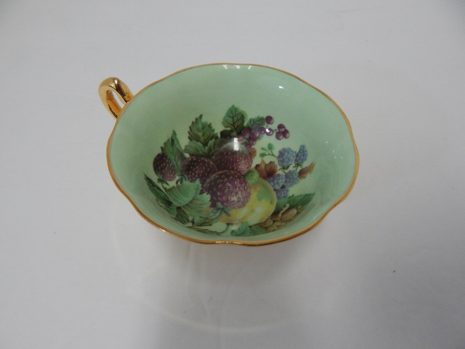 Primary image for ROSINA BONE CHINA FOOTED TEA CUP ENGLAND FRUIT PATTERN GOLD