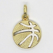 White Yellow Gold Pendant 750 18k, Basketball, Ball, Made in Italy image 2