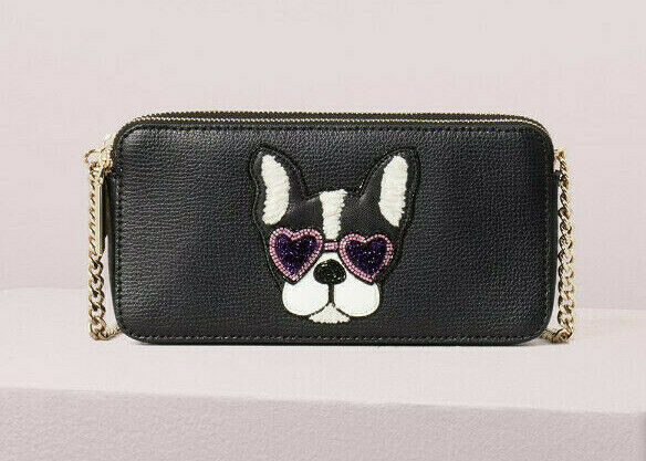 Primary image for Kate Spade Bulldog beaded francois double-zip mini crossbody Wallet ~NWT~ Black
