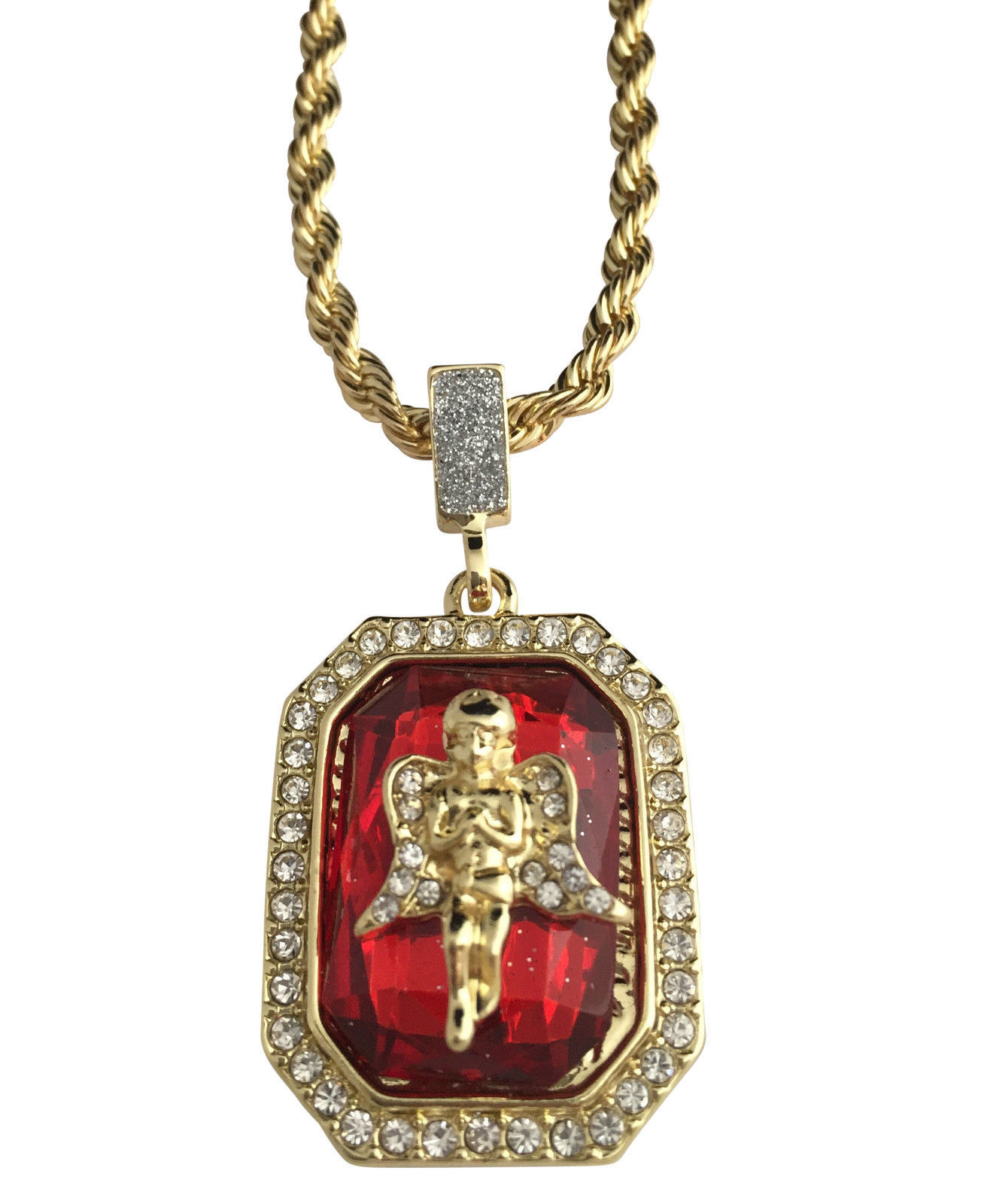 Hip Hop Iced CZ 14K Gold GP Red Ruby Prayer Angel Pendant Rope Chain Necklace