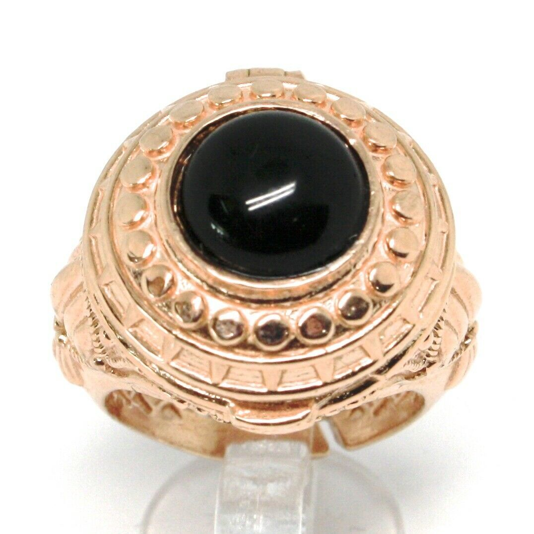 Silver Ring 925 Pink, Door Carries Pads, Onyx Cabochon, Adjustable