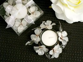 Elegant Frosted White Glass Flower Candle Holder [SET OF 24] - $79.17