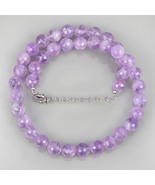 Faceted Round Gemstone Lavender Amethyst Beads Necklace in Sterling Silv... - $53.99