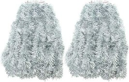 2 Packs Silver Super Duper Thick Tinsel Garland 50 Ft Total Two Strands Each 25  image 1