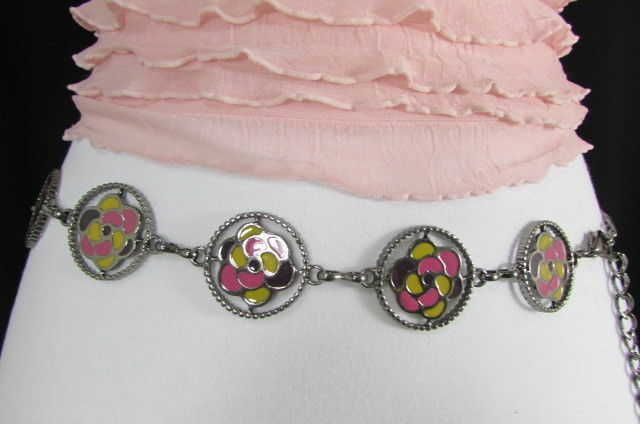 Damen Zinn Metall Bling Gürtel Gelb Rosa Blume Anhänger Hüfte Taille S M L image 3